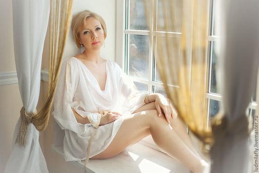 Эксклюзивное белье ручной работы от Людмилы Маниной. Белый хлопковый пеньюар-хитон в греческом стиле.