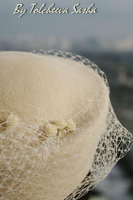 Шляпы ручной работы. Ярмарка Мастеров - ручная работа. Купить Айвори. Шляпка и вуалетка в одном. Handmade. Шляпка, праздничная шляпка
