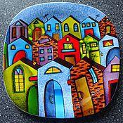"""ручной работы. Ярмарка Мастеров - ручная работа Декоративная тарелка""""Город"""". Handmade."""