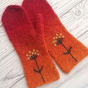 Аксессуары handmade. Livemaster - original item Knitted mittens, felted with embroidery.. Handmade.