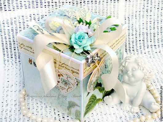 Подарки на свадьбу ручной работы. Ярмарка Мастеров - ручная работа. Купить Коробочка для денег Свадебная (Мэджик Бокс). Handmade. Голубой