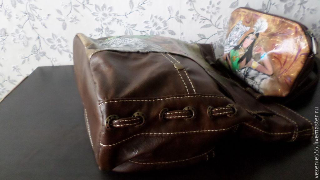 bc83d1a4eec0 ... Женские сумки ручной работы. Заказать Сумка кожаная женская и косметичка  с ручной росписью Клеопатра. ...
