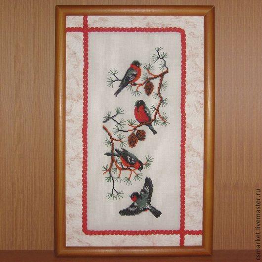 """Животные ручной работы. Ярмарка Мастеров - ручная работа. Купить """"Снегири"""" вышивка крестом. Handmade. Комбинированный, Вышитая картина, снегири"""