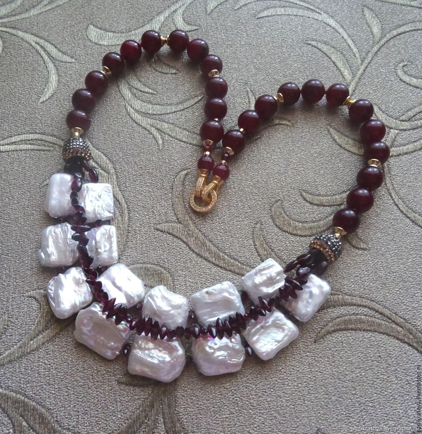 Necklace 'Madrid' (pearl, garnet, agate), Necklace, Moscow,  Фото №1