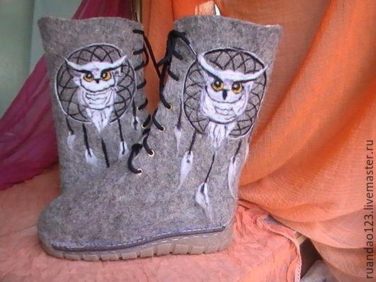 Обувь ручной работы. Ярмарка Мастеров - ручная работа. Купить Ботинки Ловец снов. Handmade. Серый, люверсы, подошва