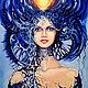 """Фэнтези ручной работы. Ярмарка Мастеров - ручная работа. Купить Картина """"Селена. Неповторимая и прекрасная"""". Handmade. Тёмно-синий"""