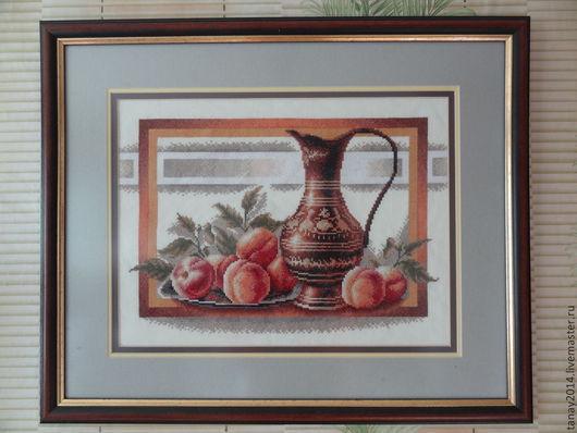 Натюрморт ручной работы. Ярмарка Мастеров - ручная работа. Купить Натюрморт с персиками. Handmade. Натюрморт, натюрморт с кувшином, вышивка, подарок