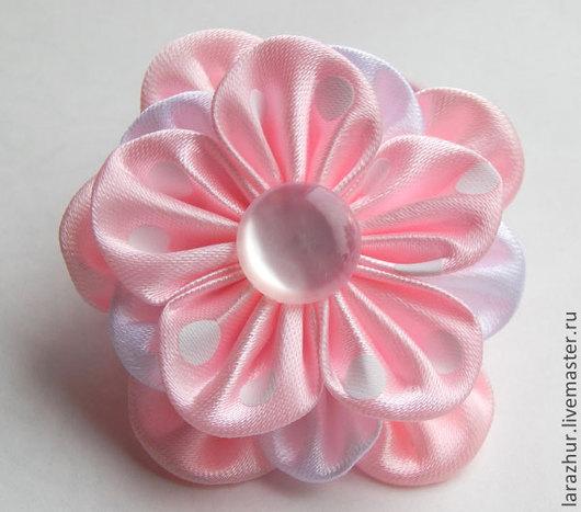 """Заколки ручной работы. Ярмарка Мастеров - ручная работа. Купить """"Горошки"""" резинка для волос. Handmade. Розовый, цветы из ткани"""