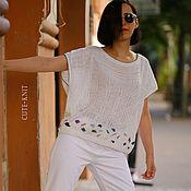 Одежда handmade. Livemaster - original item tunic: White tunic women`s beach Large Size Pebbles. Handmade.