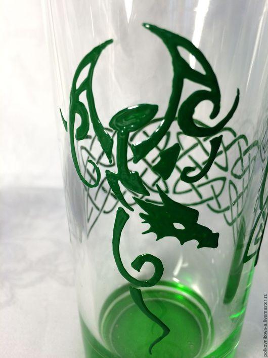 """Бокалы, стаканы ручной работы. Ярмарка Мастеров - ручная работа. Купить Стакан """"Зеленый змий"""". Handmade. Зеленый, подарок, необычный"""
