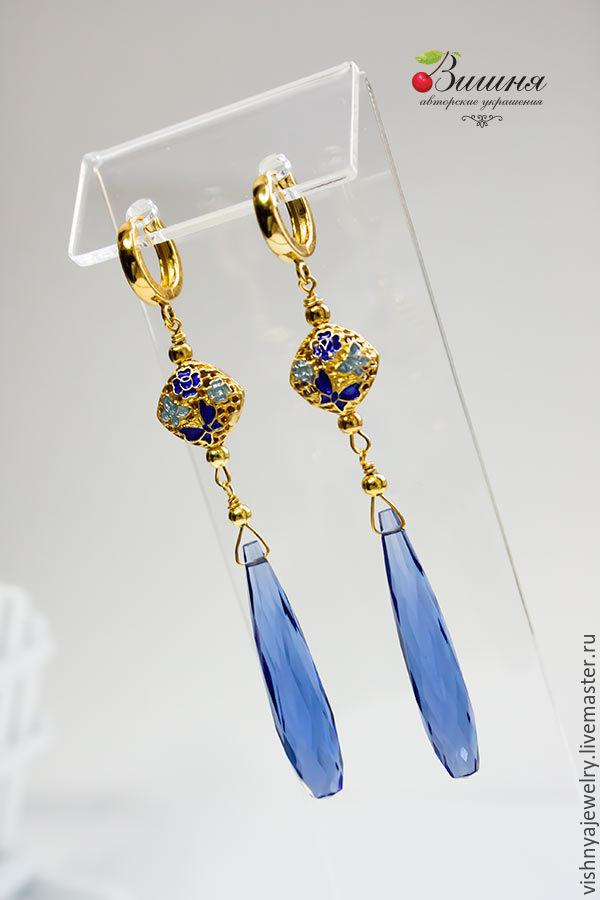 Earrings silver BLUE BIRD Enamel Gilt silver, Earrings, Moscow,  Фото №1
