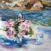 Картины и панно handmade. Livemaster - original item Flowers,water and stones(oil). Handmade.