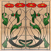 """Для дома и интерьера ручной работы. Ярмарка Мастеров - ручная работа Витраж """"Цветы модерна"""". Handmade."""
