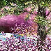 Картины и панно handmade. Livemaster - original item Landscape with pine trees and wild rosemary. Handmade.