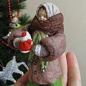 Куклы и игрушки ручной работы. Ярмарка Мастеров - ручная работа Девочка с Морозом - ватная елочная игрушка. Handmade.