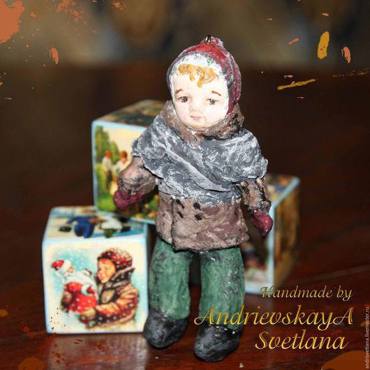 Коллекционные куклы ручной работы. Ярмарка Мастеров - ручная работа. Купить Елочная игрушка из ваты Вовочка. Handmade. Разноцветный