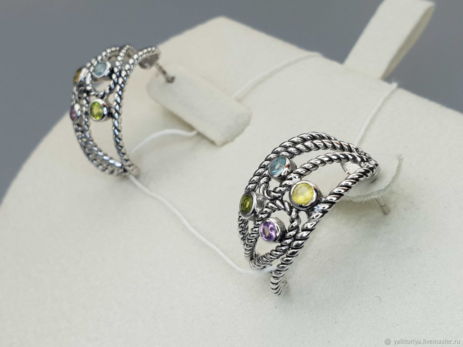 Silver earrings with topaz, amethyst, citrine and chrysolite, Earrings, Moscow,  Фото №1