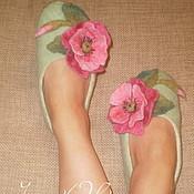 """Обувь ручной работы. Ярмарка Мастеров - ручная работа тапочки """"Розовые маки"""". Handmade."""