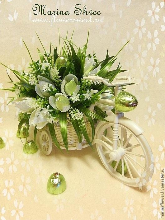 Букеты ручной работы. Ярмарка Мастеров - ручная работа. Купить Букет из конфет в велосипеде Весеннее настроение. Handmade. Зеленый, велосипед