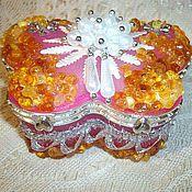 Для дома и интерьера ручной работы. Ярмарка Мастеров - ручная работа Шкатулка с янтарём Принцесса, для украшений, драгоценностей. Handmade.