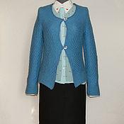 Одежда ручной работы. Ярмарка Мастеров - ручная работа Сине-голубой  кардиган  из ангоры. Handmade.