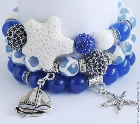 """Браслеты ручной работы. Ярмарка Мастеров - ручная работа. Купить Комплект браслет """"Морская звезда"""". Handmade. Синий, женский браслет"""