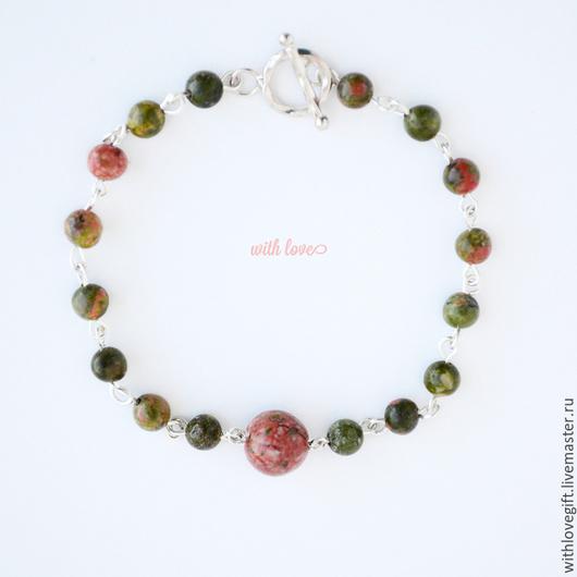 Браслеты ручной работы. Ярмарка Мастеров - ручная работа. Купить Тонкий серебряный браслет из зеленых камней. Handmade.
