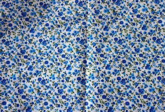 Хлопок поплин в мелкий синий цветочек