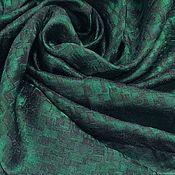 Материалы для творчества handmade. Livemaster - original item Fabric: Textured silk-emerald brown. Handmade.