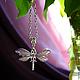 Подвеска стрекоза из металла с росписью, подвеска стрекоза, украшения насекомые стрекоза, летние украшения, летняя подвеска стрекоза, стрекоза на цепочке.