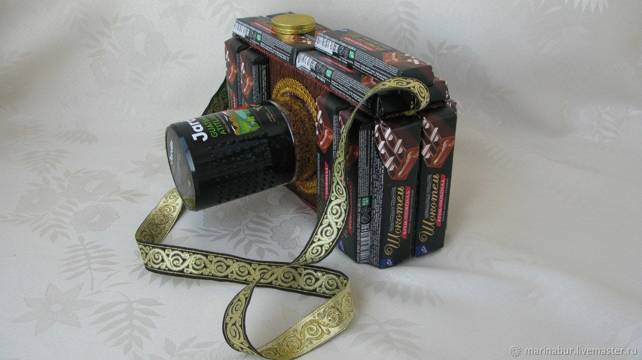 фотоаппарат из конфет мастер класс велюра хвостиком дополняет