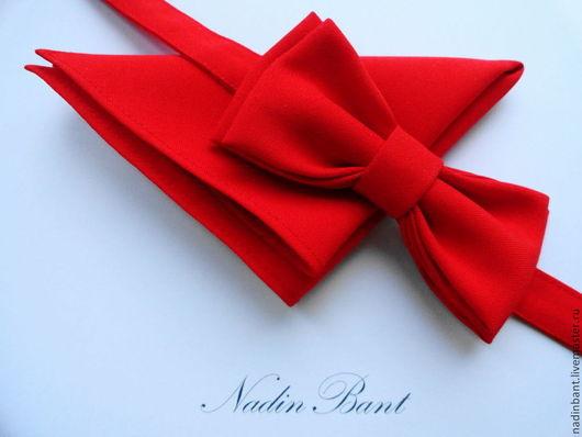 """Галстуки, бабочки ручной работы. Ярмарка Мастеров - ручная работа. Купить Галстук бабочка """"Red Wings"""" с платочком. Handmade."""