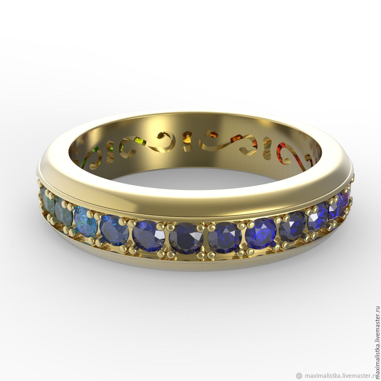 Sapphire path ring with sapphires, yellow gold, Rings, Moscow,  Фото №1