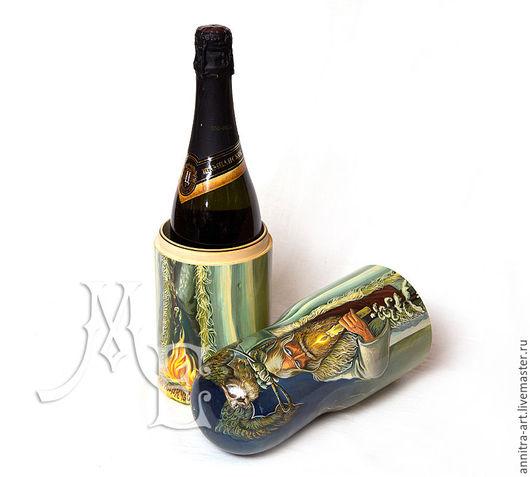 Подарочное оформление бутылок ручной работы. Ярмарка Мастеров - ручная работа. Купить Матрёшка штоф. Handmade. Морская волна, сова