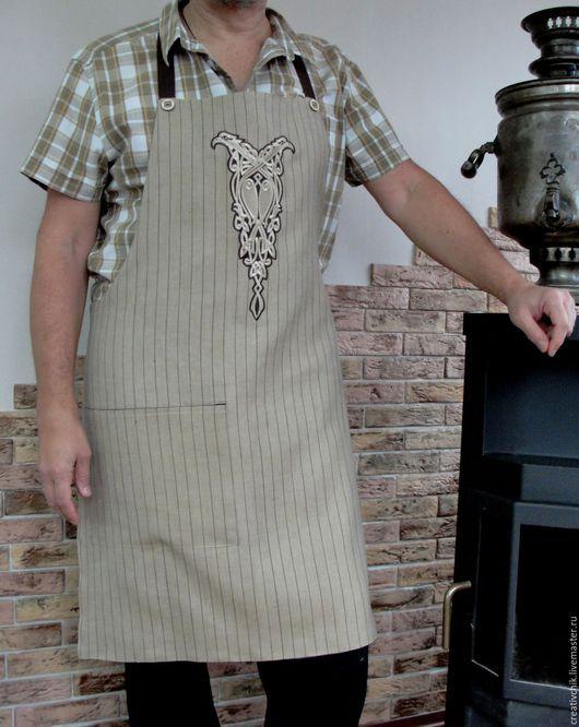 Кухня ручной работы. Ярмарка Мастеров - ручная работа. Купить Фартук для кухни мужской. Handmade. Коричневый бежевый фартук