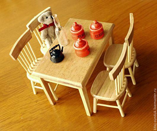 Куклы и игрушки ручной работы. Ярмарка Мастеров - ручная работа. Купить Обеденная зона 1:12 для кукольной кухни Белая и неокрашенная. Handmade.