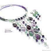 Украшения handmade. Livemaster - original item Cascade necklace made of fluorite and rock crystal may rain lilac. Handmade.