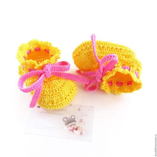 Для новорожденных, ручной работы. Ярмарка Мастеров - ручная работа. Купить пинетки вязаные,  пинетки для девочки,  желтый, розовый. Handmade.