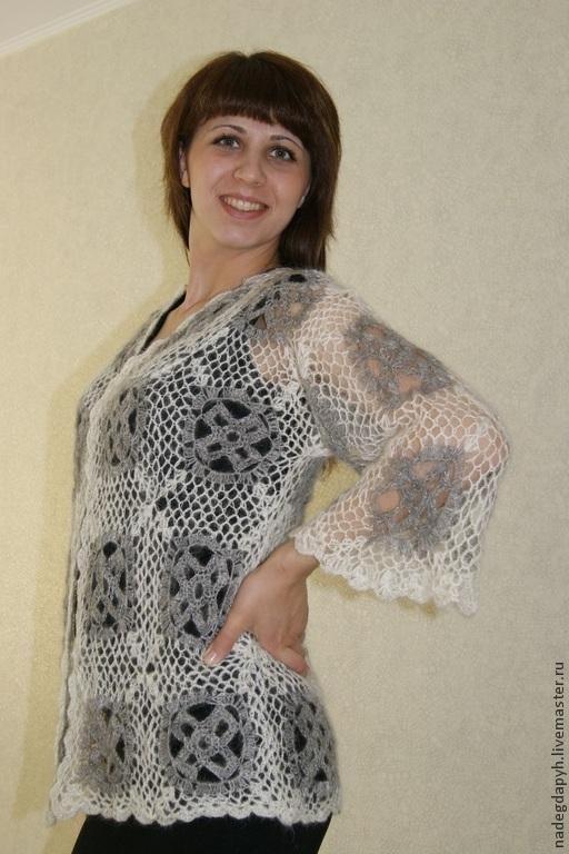 Кофты и свитера ручной работы. Ярмарка Мастеров - ручная работа. Купить 31-кофта пуховая вязаная крючком , двухцветная , одежда. Handmade.