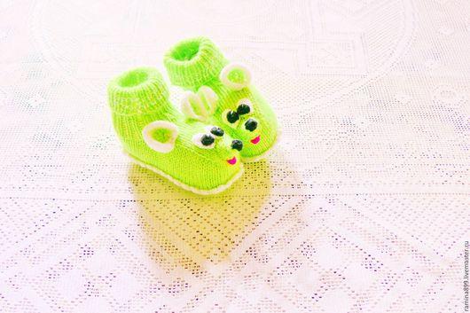 Для новорожденных, ручной работы. Ярмарка Мастеров - ручная работа. Купить Пинетки вязаные Мышки для Малышки для новорождённых спицами. Handmade.