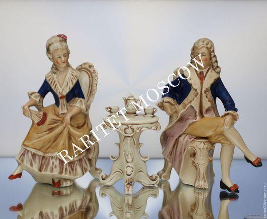 Винтажные предметы интерьера. Ярмарка Мастеров - ручная работа. Купить Пара кавалер с дамой чаепитие Графенталь 9. Handmade. Разноцветный
