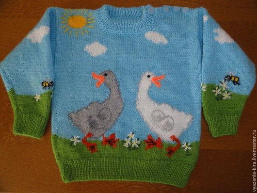 """Одежда для мальчиков, ручной работы. Ярмарка Мастеров - ручная работа. Купить пуловер детский с рисунком """"два веселых гуся"""". Handmade."""