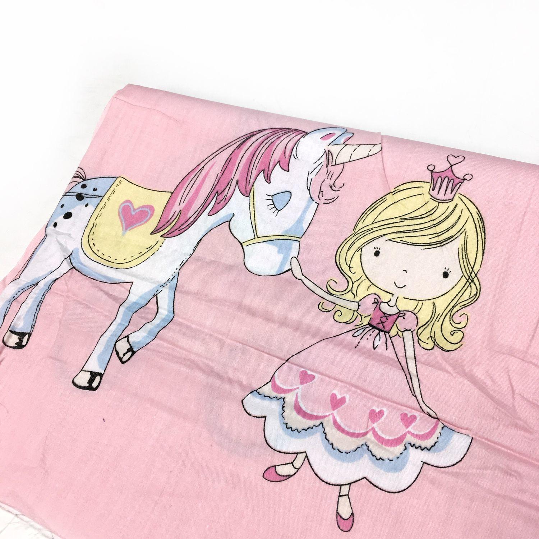 Ткань Принцесса с единорогом 100% Хлопок, сатин – купить ...