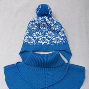 Шерстяная двойная шапочка с манишкой №12 (42-48см)