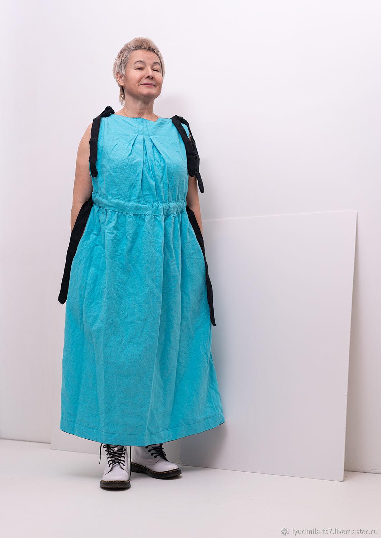 Льняное платье свободное с завязками на талии, Платья, Москва,  Фото №1
