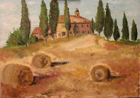 """Пейзаж ручной работы. Ярмарка Мастеров - ручная работа. Купить Постер """"Вечер в Тоскане"""" (фотохолст). Handmade. Бежевый, пейзаж маслом"""
