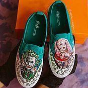 Обувь ручной работы handmade. Livemaster - original item Sneakers slip-ons with a pattern of the Joker and Harley Quinn. Customization of shoes.. Handmade.