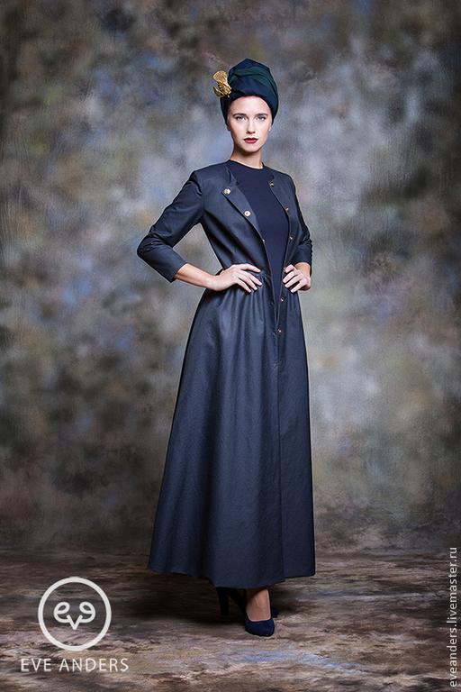 Верхняя одежда ручной работы. Ярмарка Мастеров - ручная работа. Купить Helga - классическое платье-пальто.. Handmade. Тёмно-синий