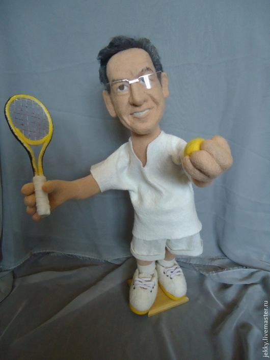 Персональные подарки ручной работы. Ярмарка Мастеров - ручная работа. Купить Портретная кукла на заказ по фотографии- Теннисист. Handmade. Бежевый