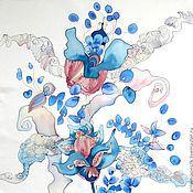 """Аксессуары ручной работы. Ярмарка Мастеров - ручная работа Шелковый платок  """"Голубая Экспрессия"""". Handmade."""